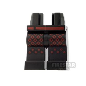 Product shot LEGO Mini Figure Legs - Dark Red Diamonds and Belt