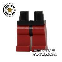 Product shot LEGO Mini Figure Legs - Dark Red Legs - Black Hips