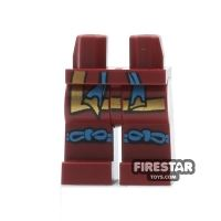 Product shot LEGO Mini Figure Legs - Dark Red with Knee Straps