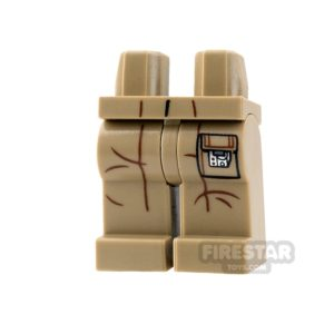Product shot LEGO Mini Figure Legs - Dark Tan with Creases and Pocket