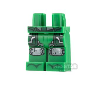 Product shot LEGO Mini Figure Legs - Green Robe with Cracked Knee Pads