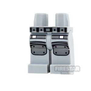 Product shot LEGO Mini Figure Legs - Light Blueish Gray with Knee Pads