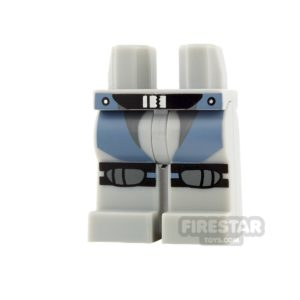 Product shot LEGO Mini Figure Legs - Light Blueish Gray with Straps and Knee Pads