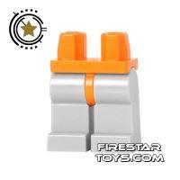 Product shot LEGO Mini Figure Legs - Light Bluish Gray - Orange Hips