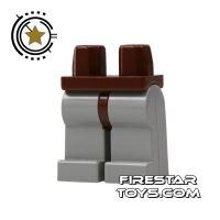 Product shot LEGO Mini Figure Legs - Light Gray Legs Brown Hips