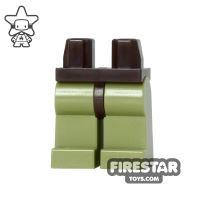 Product shot LEGO Mini Figure Legs - Olive Green - Dark Brown Hips