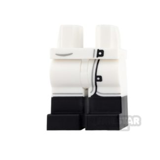 Product shot LEGO Mini Figure Legs - White Lab Coat with Black Boots