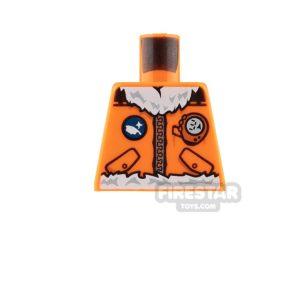 Product shot LEGO Mini Figure Torso - Arctic Explorer Jacket - Orange - No Arms