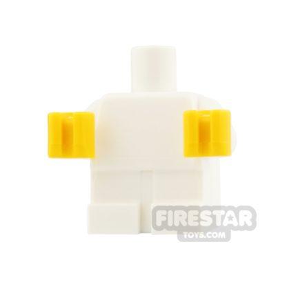 Product shot LEGO Mini Figure Torso - Babygrow - White - Yellow Hands