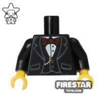 Product shot LEGO Mini Figure Torso - Black Formal Jacket