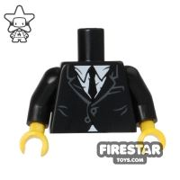 Product shot LEGO Mini Figure Torso - Black Jacket and Tie