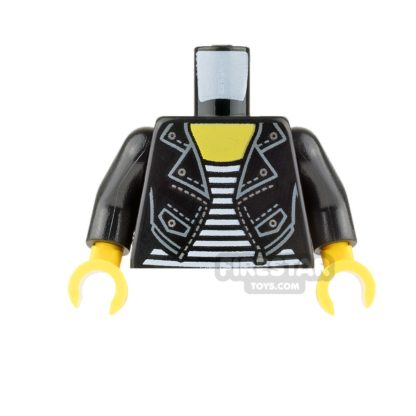 Product shot LEGO Mini Figure Torso - Black Leather Jacket and Striped Shirt