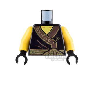 Product shot LEGO Mini Figure Torso - Black Ninja Robe with Gold Sash and Medallion