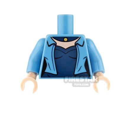 Product shot LEGO Mini Figure Torso - Blue Jacket with Dark Blue Top
