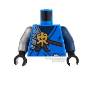 Product shot LEGO Mini Figure Torso - Blue Robe with Rope and Gold Medallion