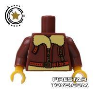Product shot LEGO Mini Figure Torso - Brown Bomber Jacket
