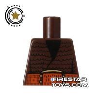 Product shot LEGO Mini Figure Torso - Brown Jacket - No Arms