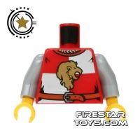 Product shot LEGO Mini Figure Torso - Castle Kingdoms Lion Head