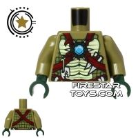 Product shot LEGO Mini Figure Torso - Crocodile - Red Straps and Jewel