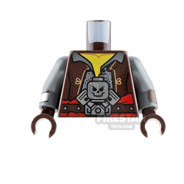 Product shot LEGO Mini Figure Torso - Dark Brown Jacket with Skull