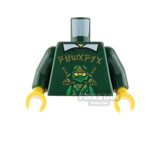 Product shot LEGO Mini Figure Torso - Dark Green Shirt with Ninja