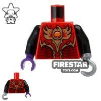Product shot LEGO Mini Figure Torso - Fire Chi Armour - Hook Hand