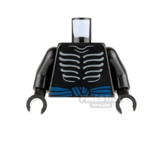 Product shot LEGO Mini Figure Torso - Gray Skeletal Ribs with Muscles Outline on Back