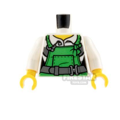 Product shot LEGO Mini Figure Torso - Green Overalls and Prison Shirt