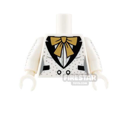 Product shot LEGO Mini Figure Torso - Harley Quinn - Tuxedo and Gold Bow