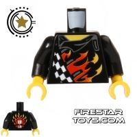 Product shot LEGO Mini Figure Torso - Leather Jacket with Flames