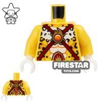 Product shot LEGO Mini Figure Torso - Leopard - Dark Red Straps