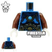 Product shot LEGO Mini Figure Torso - Lion - Dark Blue Scarf