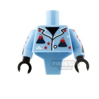 Product shot LEGO Mini Figure Torso - Modified - Bright Light Blue - Volcano Pajamas