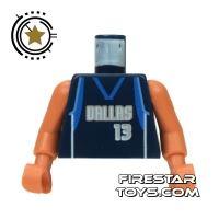 Product shot LEGO Mini Figure Torso - NBA Dallas Mavericks 13