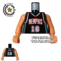 Product shot LEGO Mini Figure Torso - NBA Memphis Grizzlies - Player 16