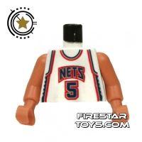 Product shot LEGO Mini Figure Torso - NBA New Jersey Nets 5