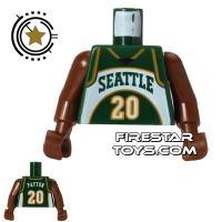 Product shot LEGO Mini Figure Torso - NBA Seattle SuperSonics - Player 20