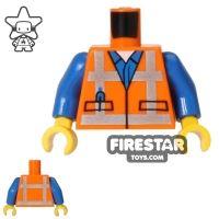 Product shot LEGO Mini Figure Torso - Orange Construction Vest