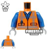Product shot LEGO Mini Figure Torso - Orange Safety Vest