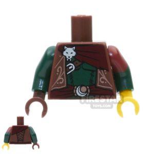 Product shot LEGO Mini Figure Torso -  Ornate Vest With Fox Head