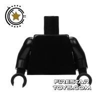 Product shot LEGO Mini Figure Torso - Plain Black - Black Hands