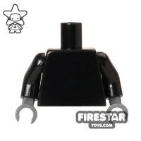 Product shot LEGO Mini Figure Torso - Plain Black - Dark Blueish Gray Hands