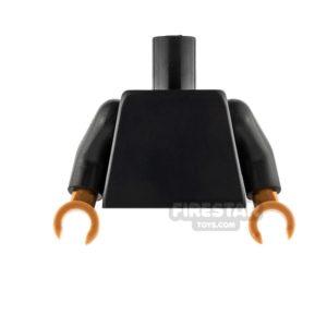 Product shot LEGO Mini Figure Torso - Plain Black - Medium Dark Flesh Hands