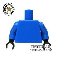 Product shot LEGO Mini Figure Torso - Plain Blue - Black Hands