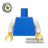 Product shot LEGO Mini Figure Torso - Plain Blue with White Arms