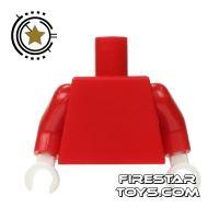 Product shot LEGO Mini Figure Torso - Plain Red - White Hands