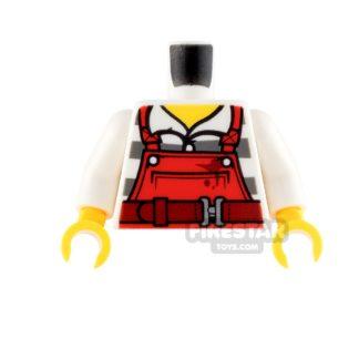 Product shot LEGO Mini Figure Torso - Red Overalls over Prison Stripes Shirt