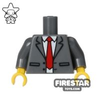 Product shot LEGO Minifigure Torso Dark Gray Suit with Red Tie
