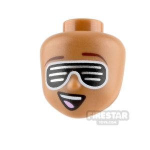 Product shot LEGO Movie Minifigure Heads Silver Striped Glasses