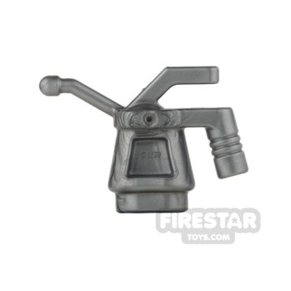 Product shot LEGO - Oil Can - Ribbed Handle - Flat Silver